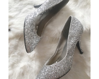 Vintage Marylin silver glitter sparkle pumps/high heels size 6.5