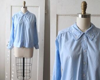 Antique 1920s Blue Cotton Middy Blouse / Vintage 20s Button-up Shirt / Virginia Blouse