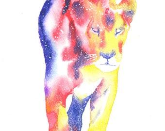 Lioness ORIGINAL Watercolor Galaxy Spirit Totem Animal 9X12