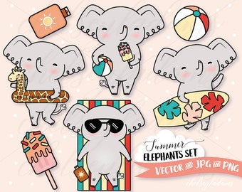 Summer Elephants Clipart Set, Vector Clip Art, Surfboard, Beach, Popsicle, Kawaii, Commercial Use Planner Sticker Graphics, Cute, Vacation