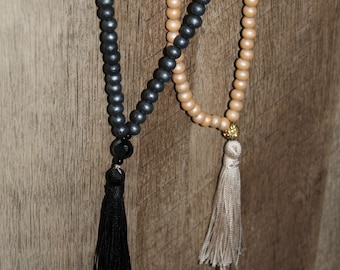 N6107 - Long Tassel Necklace - Wood Beads - Black Tassel or Gold Tassel Necklace - Boho Jewelry - Claribella