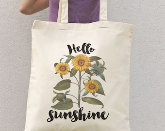Sunflowers bouquet tote bag-Hello sunshine tote-flowers tote bag-botanical tote-sunflowers tote-school bag-quote tote-NATURA PICTA NPTB050