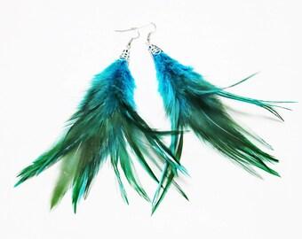 Blue Feather Earrings, Feather Tassel Earrings, Blue Turquoise Feather Earrings, Feather Jewelry, Boho Feather Earrings, Long Feather