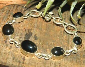 onyx Bracelet, Natural Stones, silver plated chain , Gift Idea, Silver Bracelet