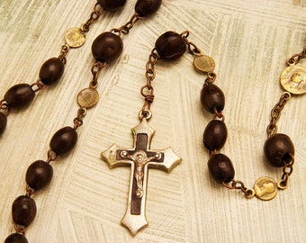 Black Gutta Percha Antique Rosary  about 1910