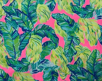 Sunset Pink Local Flavor cotton poplin 3 sizes. 6 X 6 inches  , 9 X 18 inches  or 18 X 18 inches ~Lilly Pulitzer 2018 New Print!