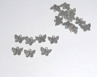 Lots of 30 silver Butterfly charms pendants