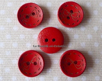 8 buttons round red pattern wood bow 18mm