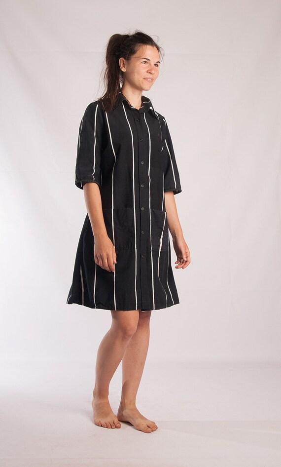 Free Marimekko Striped dress Black 1972 to vintage Pocket 70s Large Shift size vintage dress Small Cotton Marimekko dress size x5Yqdwq7r
