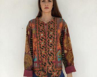 Amazing space dyed 80s boho india mirror inlay embroidered jacket