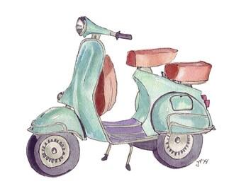 Vespa Watercolor Painting - Green Vintage Vespa Illustration Scooter Art Print, 5x7