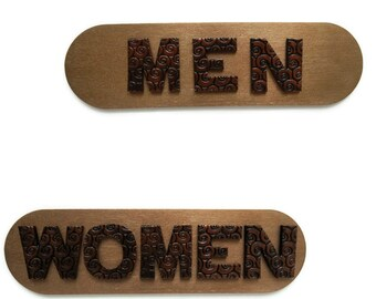 Men Women Bathroom Signs for Office and Restaurant Decor, Bronze Male Female Restroom Signs