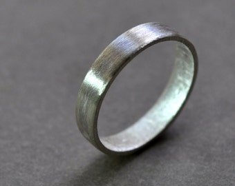 Women's Wedding Ring. Wide Flat Band. Modern Contemporary Simple Sleek Elegant Design. Sterling Silver. Jewellery. Jewelry.