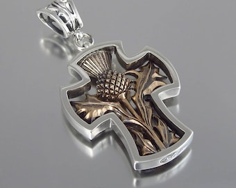 THISTLE CROSS silver and bronze pendant - Ready to Ship