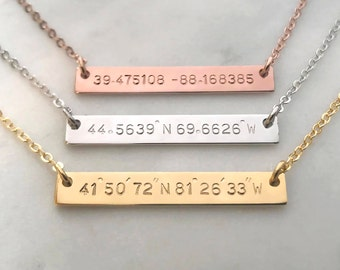 Custom Hand Stamped Gold Silver Coordinates Bar Necklace, Personalized Location GPS Latitude Longitude Letter, Wedding Gift,Anniversary Gift