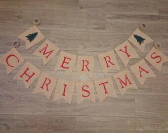 Merry Christmas Banner, with Christmas Trees, Christmas Decorations, Holiday Decor, Christmas Burlap Banner, Rustic Christmas, Bunting