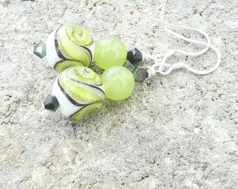Green Earrings, Quartzite Earrings, Sterling Silver, Lampwork Earrings, Dangle Earrings, Swarovski Crystal, Boho, Handmade, Multi Colored