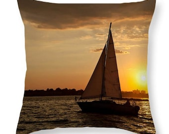 Nautical Sunset Sailing Throw Pillow or Pillow Cover. I love Yachting Accent Pillow for Indoor/Outdoor. Boat at Sunset Home Decor