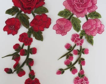 30cm length guipure patch applique, with 3D flower detail, choose red/green, pink/green, or NEW Peach/green 1 piece