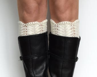 Lace boot cuffs, Knit boot toppers, Women leg warmers, Lace boot toppers, Cozy gift for her