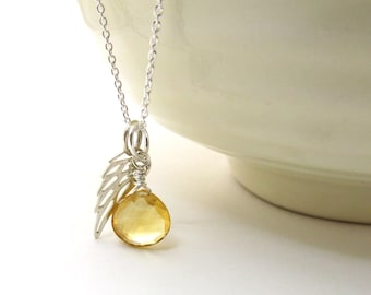 Guardian angel necklace, citrine pendant with angel wing, November birthstone, memorial jewelry, citrine necklace, silver citrine jewelry