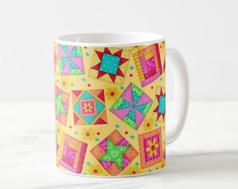 Quilt Block Art Mug, Colorful Multicolor Blocks on Yellow, Whimsy Original Quilt Art, Traditional and New Blocks, Original Quilt Art