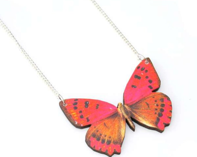 Red Butterfly Necklace, Wood Pendant, Illustration Jewelry, Woodland, Animal Necklace, Wood Jewelry
