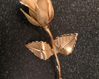 Gold Tone Rose Brooch By Giovanni