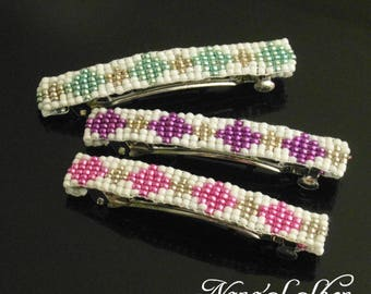 hair clip, beads, woven, white and Mint