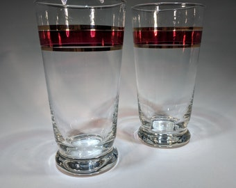 Vintage Glasses with Red & Gold Stripe-Set of 2