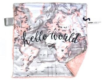 Hello World Grey and Blush Pink Minky Baby Blanket