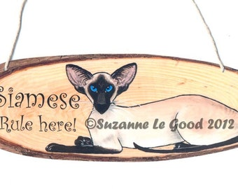 Original SIAMESE CAT hanging SIGN by Suzanne Le Good