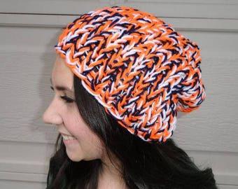 Denver Broncos Inspired Blue Orange Knit chunky slouchy hat, Broncos hat, womens hat, womens broncos hat, winter hat, knit hat, women