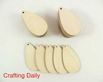 "Wood Teardrop Earring Pendant 2 1/2"" x 1 3/8"" x 1/8"" Blanks Laser Cut Wood Jewelry Shapes - 25 Pieces"