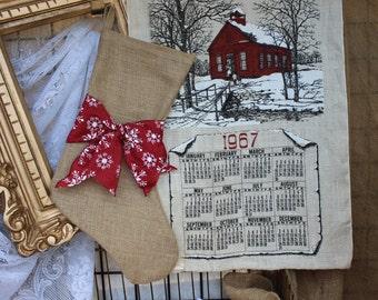 Burlap stockings - rustic Christmas stocking - burlap  stocking with red snowflake ribbon sash - Christmas snow - holidays - Christmas decor