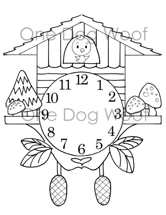 make coloring pages using photoshop | Create Your Own Cuckoo Clock Digital Print Coloring Page
