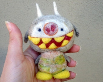 OOAK Needle felted Smiley Monster Toy Shelf Sitter Ready to Ship
