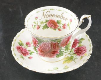 ROYAL ALBERT Fine Bone China Cup and Saucer Flower of the Month NOVEMBER