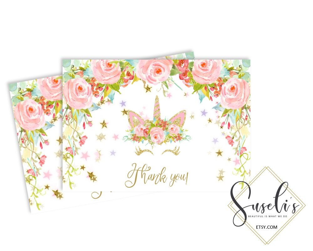 Birthday thank you card unicorn face watercolor flowers thank zoom izmirmasajfo Images