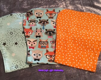 Burp Bibs – 3 Pack – Green Stars, Woodland Heads, Orange Stars