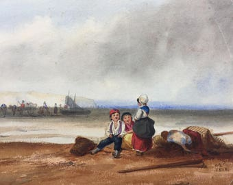Antique french water color 1838 Children on the sea