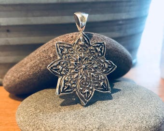 Sterling silver hand carved mandala flower pendant // silver mandala necklace // sterling flower pendant // mandala flower pendant