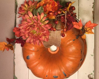 Pumpkin Bundt Pan Wreath, Fall Bundt Pan Wreath , Autumn Bundt Pan Wreath , Orange Bundt Pan Wreath , Farmhouse Pumpkin Wreath