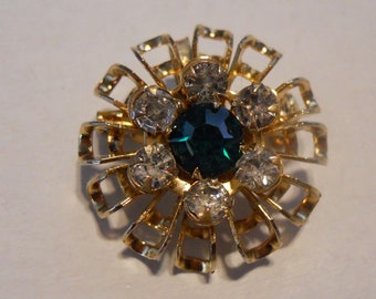 Brooch - Pin and Pendant - Green and Clear Rhinestones - Gold Tone Metal Tiered Layered Brooch - Smaller Brooch