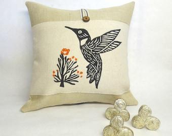Hummingbird Burlap Pillow, Decorative Hummingbird Bird Print Pillow, Desert Landscape Hummingbird Print Pillow, Home Decor, Rustic Pillow