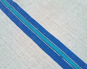 15%Off Vintage grainsack, Azure BLUE, blue stripes - rural flour sack, grain sack, home decor, pillow case, burlap