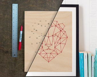 DIY Geometric Lion Dot 2 Dot Artwork, Geometric Artwork, Geometric Animal, Laser Etched, Connect the Dots
