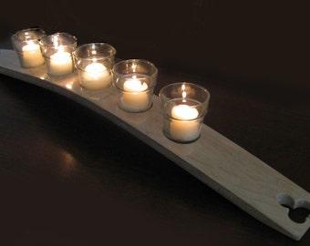 The Clover, Finest Oak Wine Barrel Stave Candle Holder 5 or 7 candles, elegantly recycled wood, choose your color.