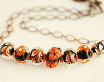 Copper Necklace, Beaded Jewelry, Halloween Jewelry