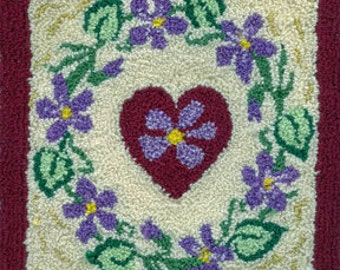 Wreath of Violets - Miniature Punch Needle Embroidery PATTERN
